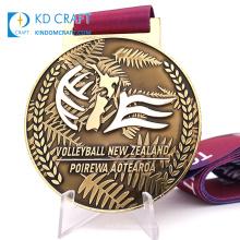 Wholesale personalizadas custom blank metal zinc alloy casting sport cheap medallion antique gold volleyball medal for souvenir