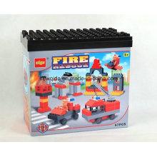 Bloco de apartamentos educacional dos brinquedos dos motores de bombeiros 67PCS com cubeta