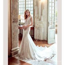 Vestido de noiva de vestido de noiva de sereia de perolização de laço