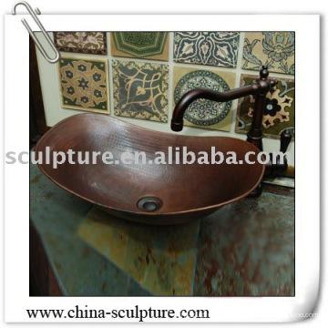 Fregadero del recipiente de cobre para la decoración del hotel / fregadero del metal