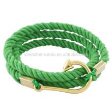 Venda Por Atacado homens da moda de aço inoxidável de ouro gancho de peixe acessórios com marinheiro âncora corda pulseiras jóias