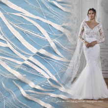 Off White Stripe Clear Seuqin Tulle Lace Fabric