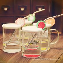 Coupe de fruits de bouteille d'eau en verre sans BPA de haute qualité avec couvercles et paille