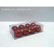 bolas de espejo de navidad brillantes de color rojo