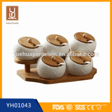 Fashion design with bamboo lid and tray white ceramic salt containers