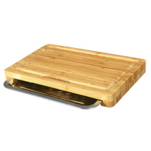 Bamboo Cutting Board with Stainless Steel Tray