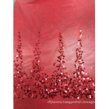 Red Sequin Mesh Embroider Fabric