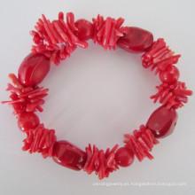Pulsera elástica de coral rojo, joyas (BR121028)