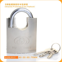 2015 Europe Market Good Quality Shackle Protected Nickle Plated Padlock With S Key