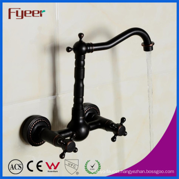 Fyeer Classic Wall Mounted Double Handle Black Brass Bath Faucet