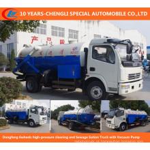 Limpeza de alta pressão de Dongfeng 6wheels, caminhão da sução da água de esgoto com bomba de vácuo