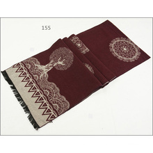 Womens Unisex Reversible Cashmere Feel Winter Warm Checked Diamond Flower Printing Thick Knitted Woven Scarf (SP272)