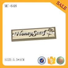 MC648 Etiqueta de metal de costura de xaile personalizado de moda com logotipo engradoed