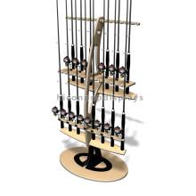 Marca patenteada de loja de varejo de madeira personalizada Promovendo carrinho de pesca de pesca Rod Display Stand
