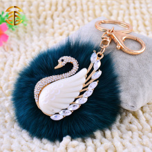 Высокое качество Fox Fur Keychain Real Fox Fur Pom Poms с Diamond Swan Keychain