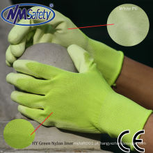 NMSAFETY anti estática de calibre 13 malha Hi-vis verde palma de nylon revestido branco luva PU