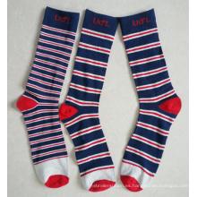 Calcetines de pantalón de algodón de rayas múltiples con logotipo personalizado