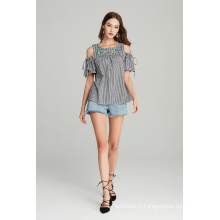 fashion ladies embroidery gingham check top