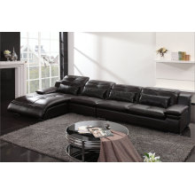 High Quality Black Genuine Leather Sofa (0411)