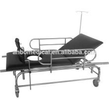 Chariot brancard en acier inoxydable avec poteau IV pour assistance à l'ambulance et au genou