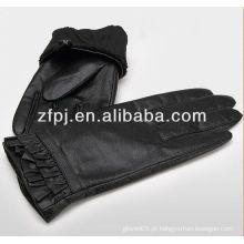 Luva de pele de pele de cabra de moda feminina luvas de couro com design especial