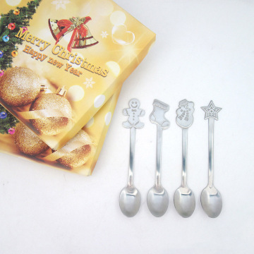 Gift Box Package Stainless Steel Christmas Spoon Set