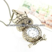 Venta al por mayor Owl diseño de latón antiguo esqueleto reloj de bolsillo 110401125