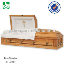 Professional wheat embroider interior oak wooden casket companies