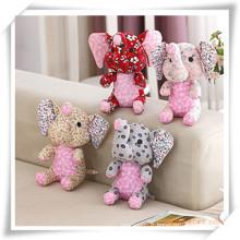 Jouets manuels de peluche d'éléphant de tissu de coton pour le cadeau de promotion