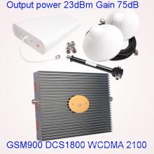 Salida de energía 23dBm GSM900 Dcs 1800 WCDMA 2100MHz Tri Band Repetidor de la señal del teléfono celular