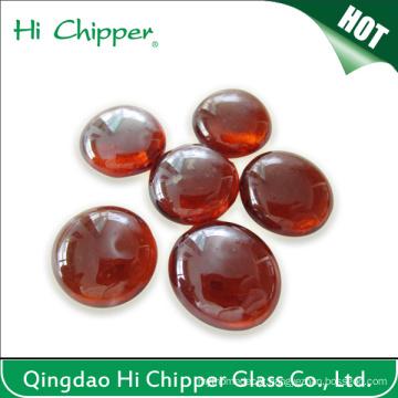 Amber Flat Back Fire Pit Glass Beads