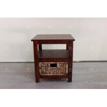 Antique Water Hyacinth Wicker e Acacia Wooden Frame Interior Gabinete