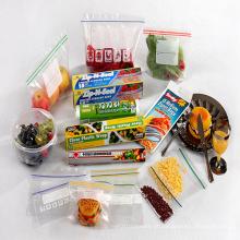 Saco do Zipper / saco do slider, saco plástico do alimento, frasco do alimento