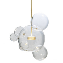 Design Fancy Plated Golden Body Clear Round Bubble Glass Ball Hanging Pendant Lamps For Living Room