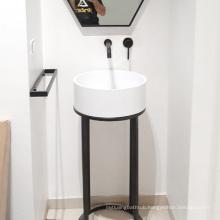 Bathroom dining room hotel pedestal stone sink freestanding hand wash basin