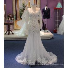 Fit и вспышки длинный рукав светло-видеть сквозь свадебное платье с аппликации