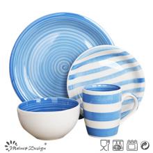 16PCS Dinner Set peint à la main deux Blue Glaze H Shape
