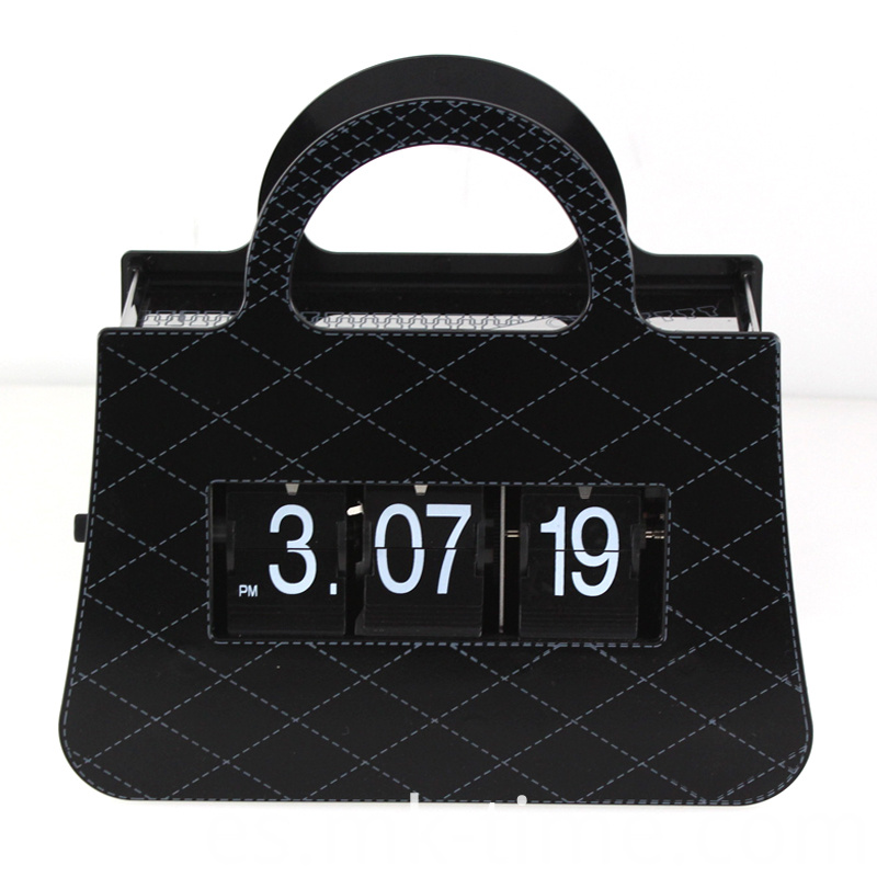 Metal Black Handbag Flip Clock