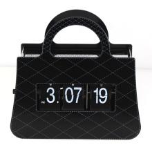 Metal black handbag flip clock