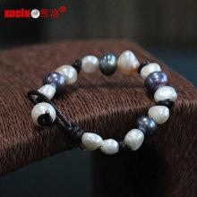 Мода натуральной кожи природных барокко пресной воды Pearl браслет (E150057)