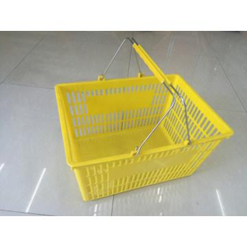 Cesta de compras plástica barata con dos manijas