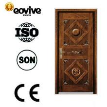 Top quality steel MDF wooden surface armoured door