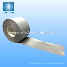 Tela o cinta reflectante de plata 100% poliéster