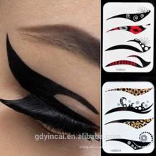 Etiqueta engomada del tatuaje del maquillaje del ojo de la manera, diseños falsos del eyeline etiqueta engomada del tatuaje del temporal con diseños del tatuaje de encargo