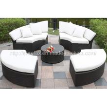 Jardim vime do Rattan ao ar livre mobiliário sofá conjunto Daybed