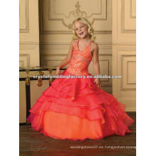 2013 halter rebordeado rizado naranja fuschia por encargo vestido de desfile de las niñas largas CWFaf4889