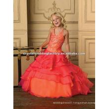2013 halter beaded ruffled orange fuschia custom-made long girls pageant dress CWFaf4889