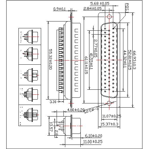 DB02-M50XXXX D-SUB Male Three Row 50 Pin(Pitch=2.77mm)Solder Type(stamped Pin)