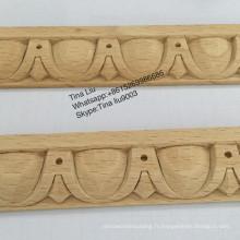 Moulures décoratives en bois sculpté en bois de hêtre traité à la vapeur