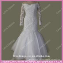 RP0085 Fábrica de vestido de noiva real manga longa fora do ombro manga longa real sereia sexy branco rendas alibaba vestidos de noiva
